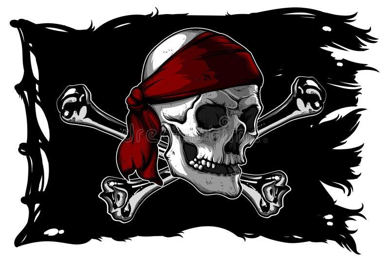 Crânio e ossos em uma bandeira de pirata ilustração do vetor