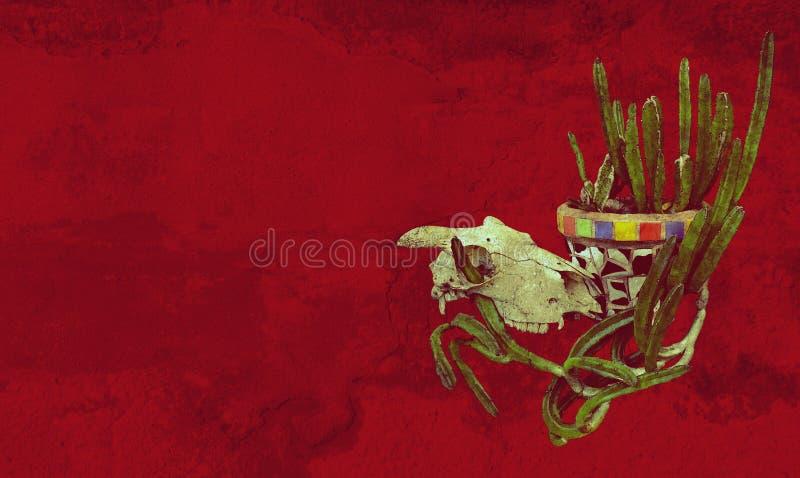 Crânio e planta de potenciômetro mexicana do cacto do estilo ilustração stock