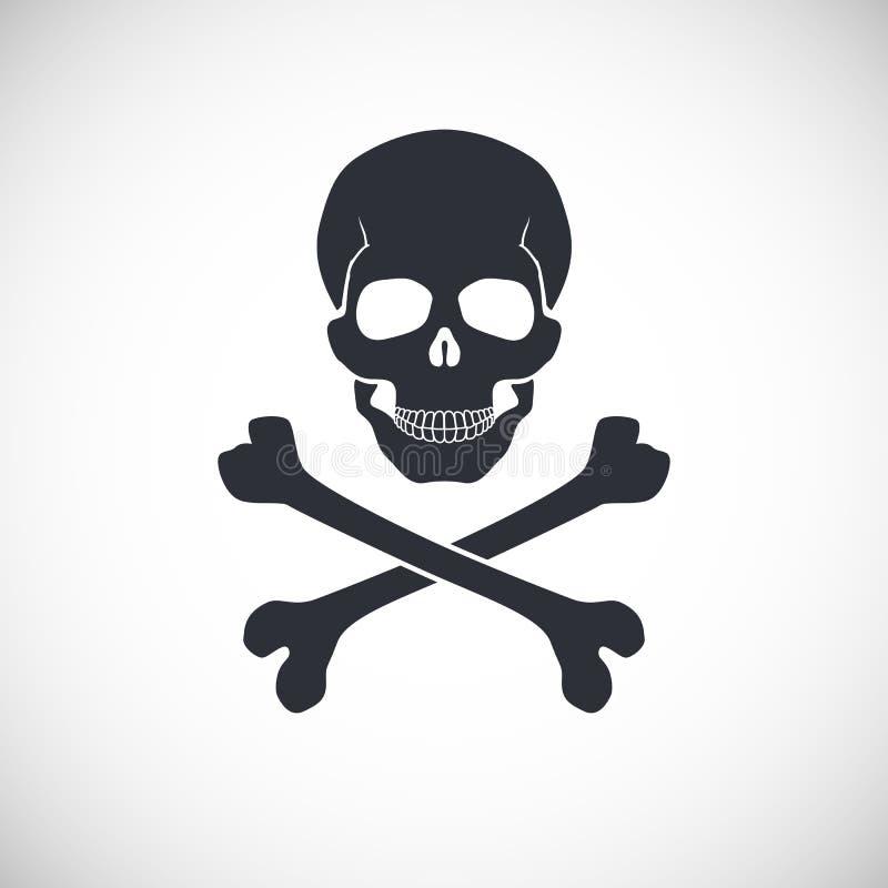 Crânio e sinal dos ossos cruzados ilustração stock