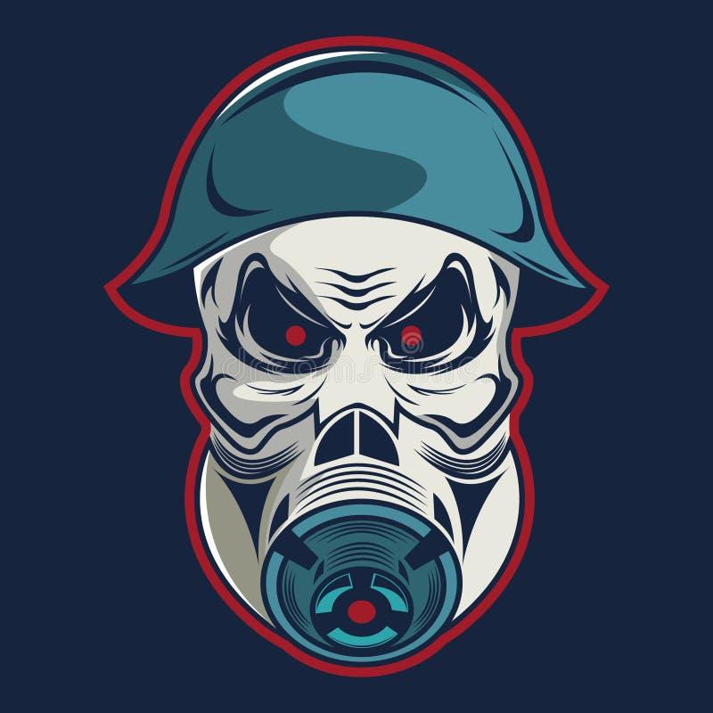 Crânio em forças armadas do capacete e em molde do logotipo da máscara de gás ilustração do vetor