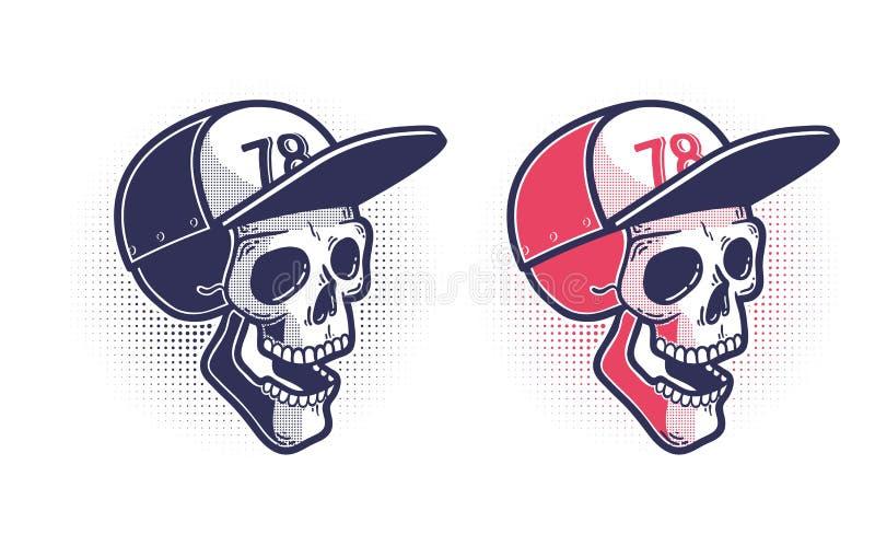 Crânio em um boné de beisebol ilustração stock