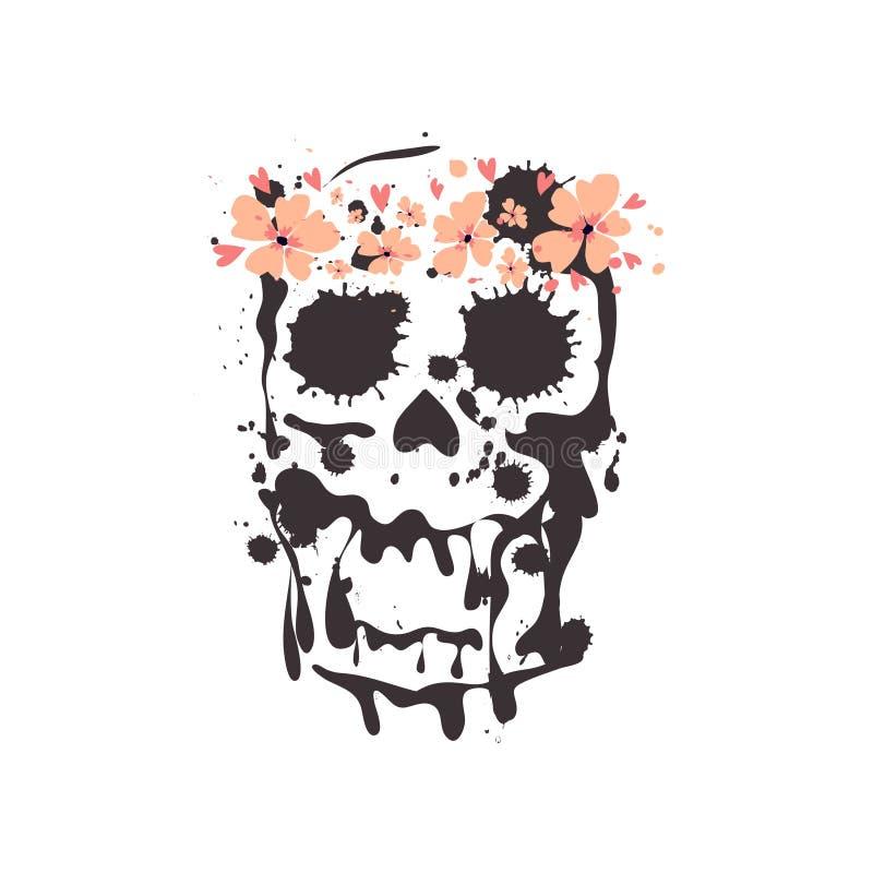 Crânio em um claro - grinalda principal das flores do rosa Ilustração do vetor ilustração do vetor