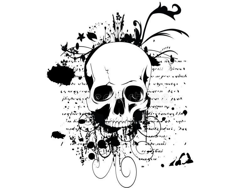 Crânio em um fundo do grunge ilustração stock
