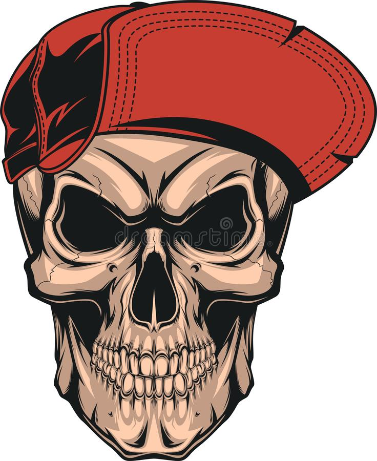 Crânio em um tampão vermelho ilustração stock