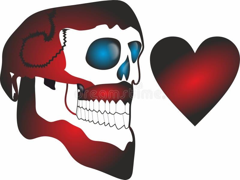 Crânio engraçado Valentine Love Icons para apps móveis do conceito e da Web ilustração do vetor