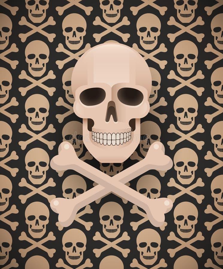 Crânio enorme no teste padrão escuro sem emenda ilustração stock