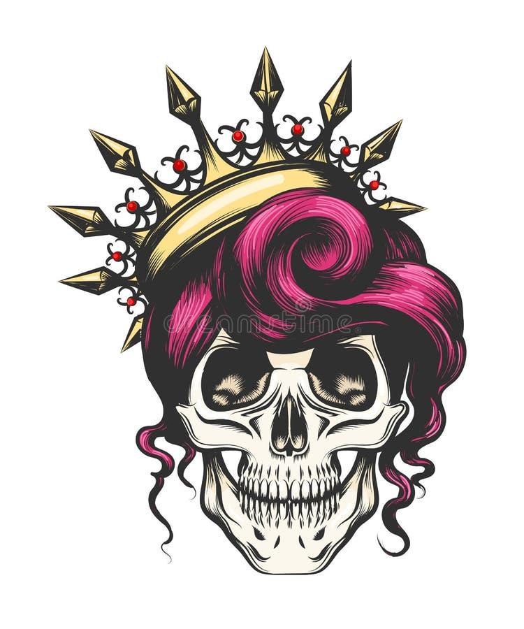 Crânio fêmea na coroa ilustração do vetor