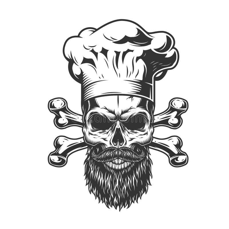 Crânio farpado e mustached do cozinheiro chefe ilustração do vetor