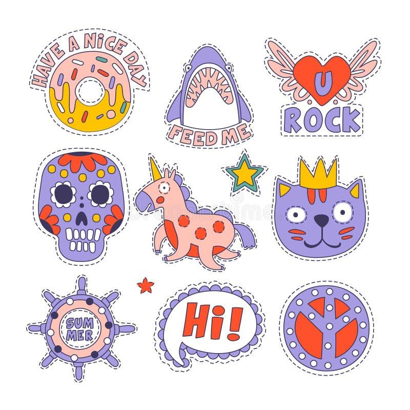 Crânio, filhós, etiquetas de Cat And Others Bright Childish ilustração do vetor