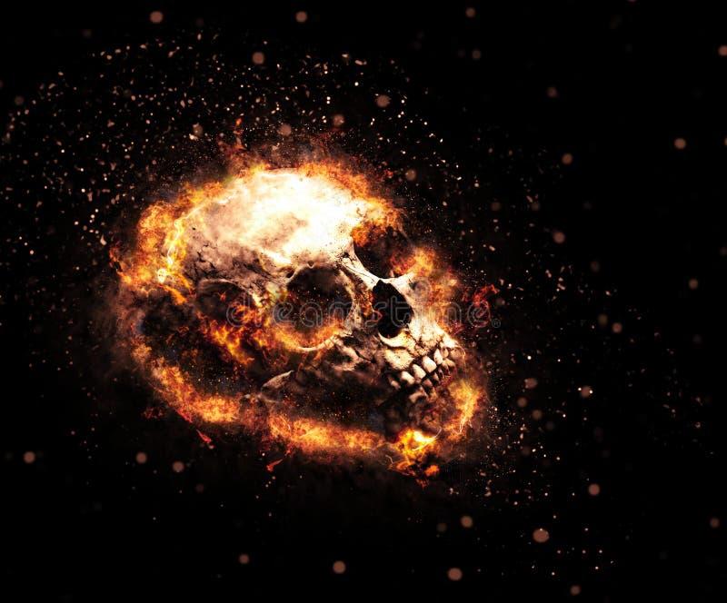 Crânio flamejante macabramente imagens de stock royalty free
