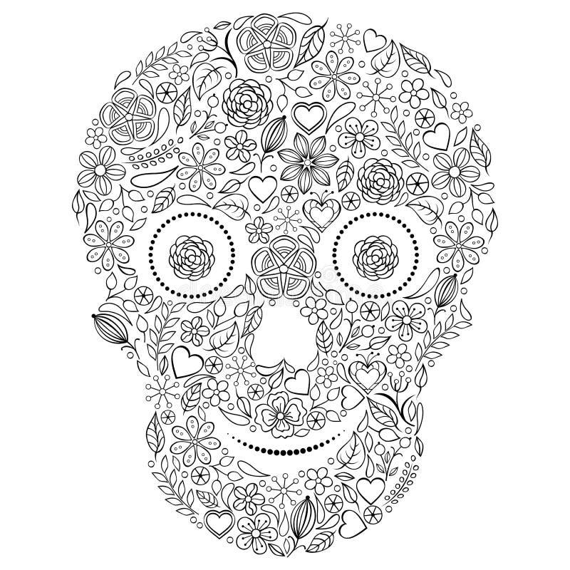 Crânio floral abstrato   no fundo branco. ilustração royalty free