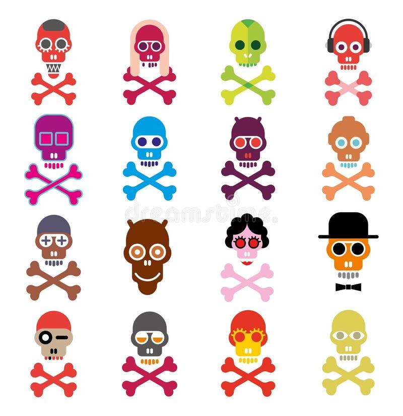 Crânio - grupo de ícones do vetor ilustração do vetor