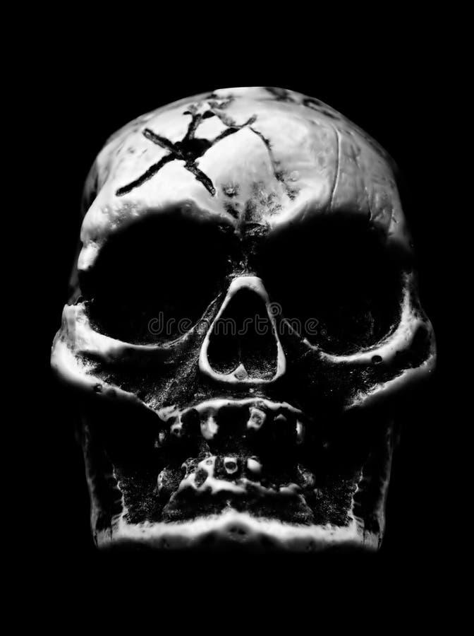 Crânio humano assustador imagem de stock royalty free