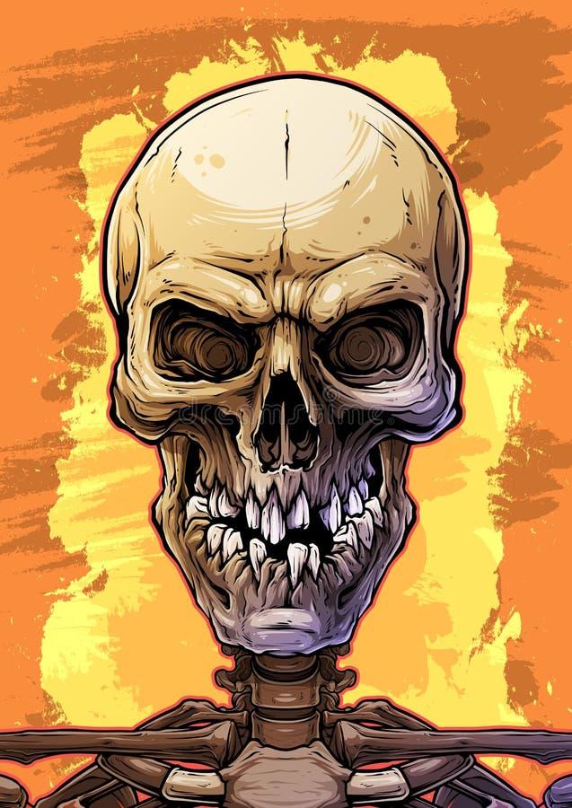 Crânio humano colorido detalhado com dentes quebrados ilustração do vetor