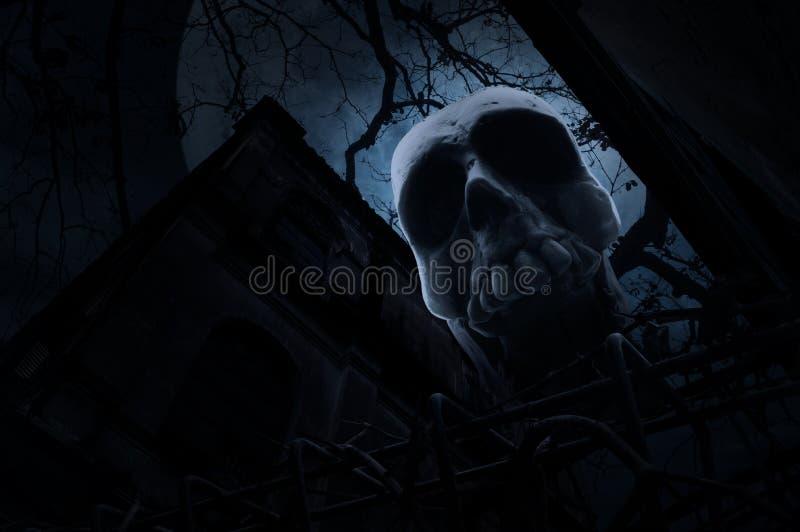 Crânio humano com a cerca velha sobre o castelo velho do grunge, árvore inoperante, mo ilustração do vetor