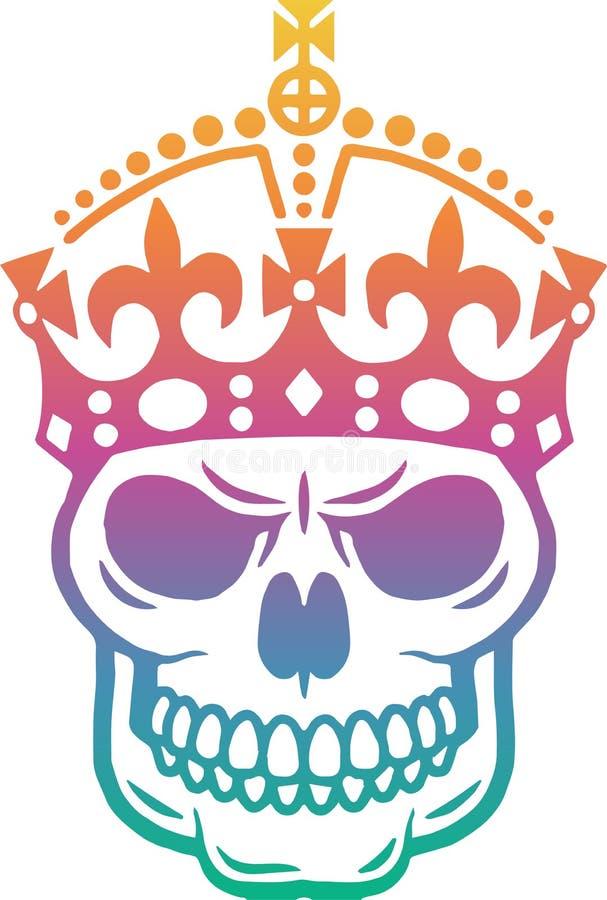 Crânio humano com a coroa na cabeça Projeto multicolorido Projeto do vetor Isolado no fundo branco ilustração royalty free