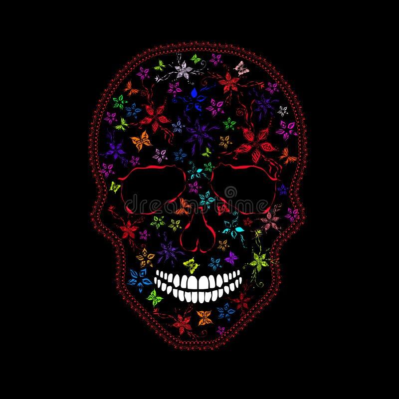 Crânio humano com flores e borboletas ilustração do vetor
