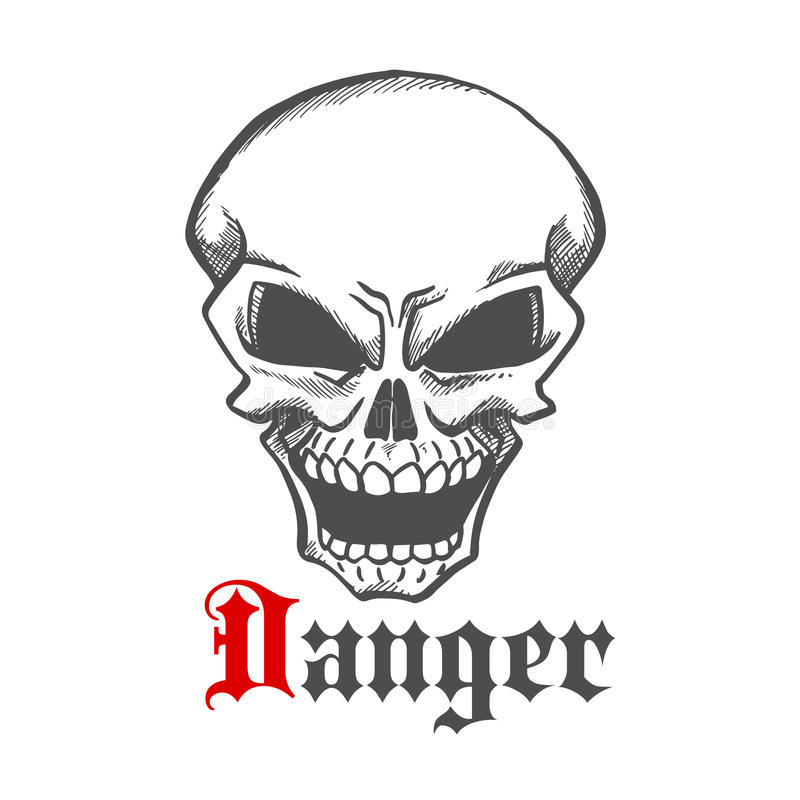 Crânio humano com símbolo infernal sorrir forçadamente, estilo do esboço ilustração stock