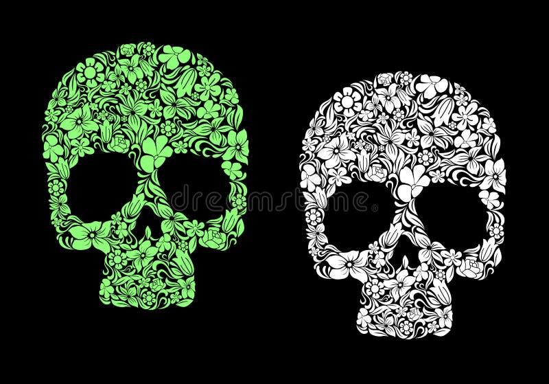 Crânio humano floral ilustração stock