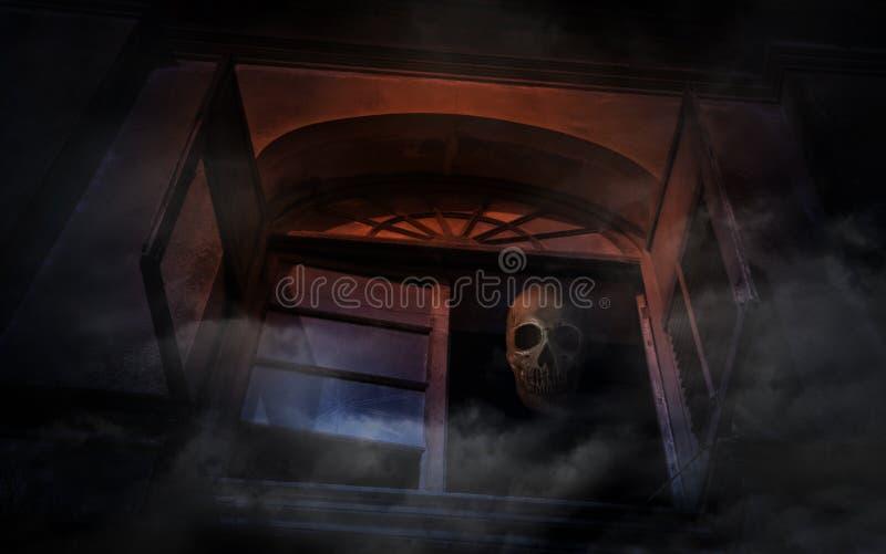 Crânio humano no castelo antigo velho da janela, fundo assustador, Hal imagem de stock royalty free