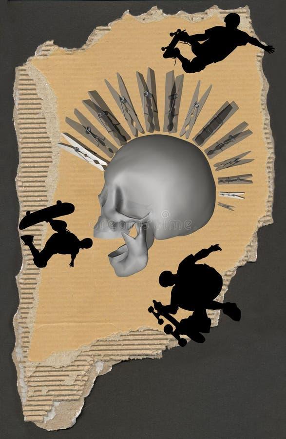 Crânio livre do estilo e do punk ilustração do vetor