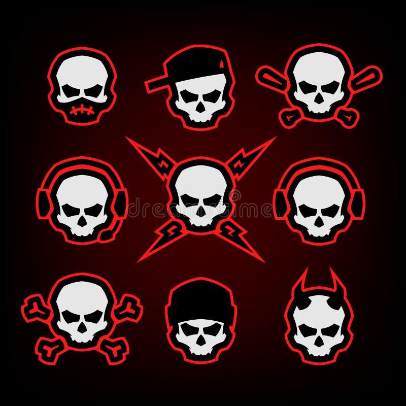 Crânio Logo Set em um fundo escuro Ilustração do vetor ilustração do vetor
