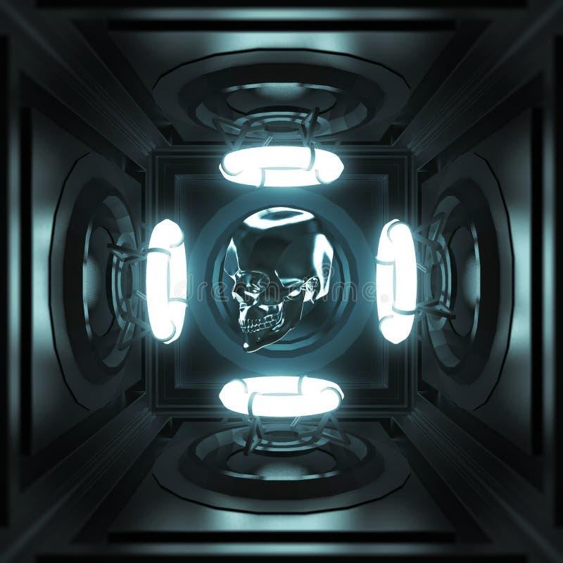 Crânio lustroso do metal na sala escura do techo com molde de incandescência do cartaz do partido da música clara de quatro anéis ilustração royalty free