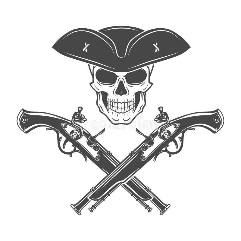 Crânio mau do capitão no vetor armado do chapéu alegre ilustração do vetor