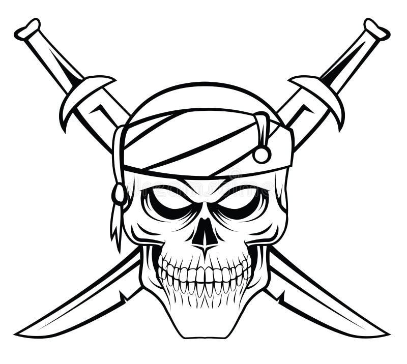 Crânio mau do pirata ilustração stock