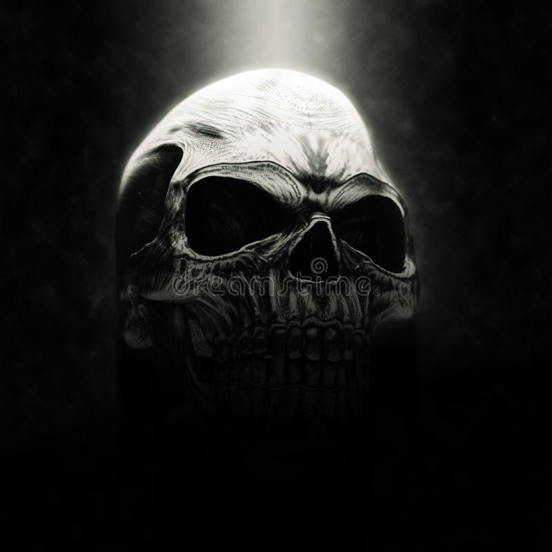 Crânio mau grande do vampiro do metal ilustração royalty free