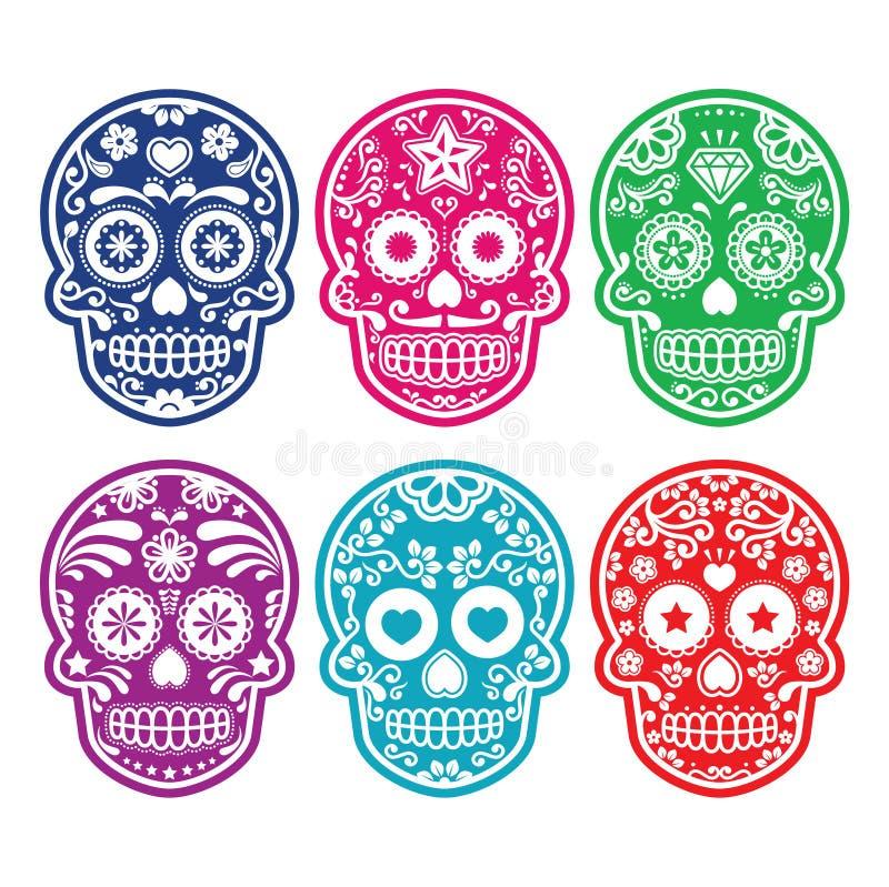 Crânio mexicano do açúcar, ícones coloridos de Diâmetro de los Muertos ajustados ilustração do vetor