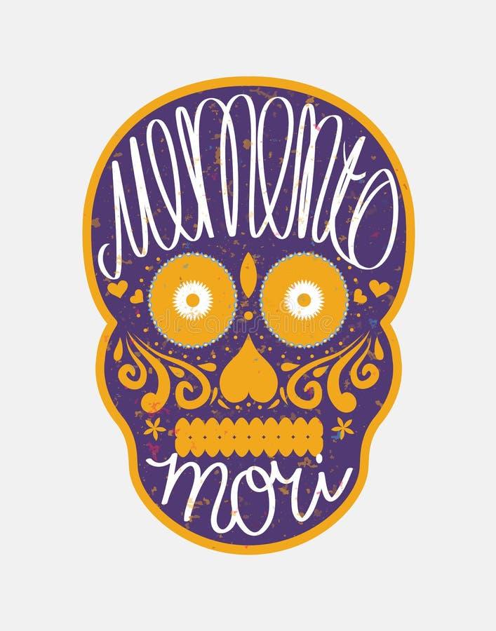 Crânio mexicano do açúcar com memento mori rotulação ilustração stock