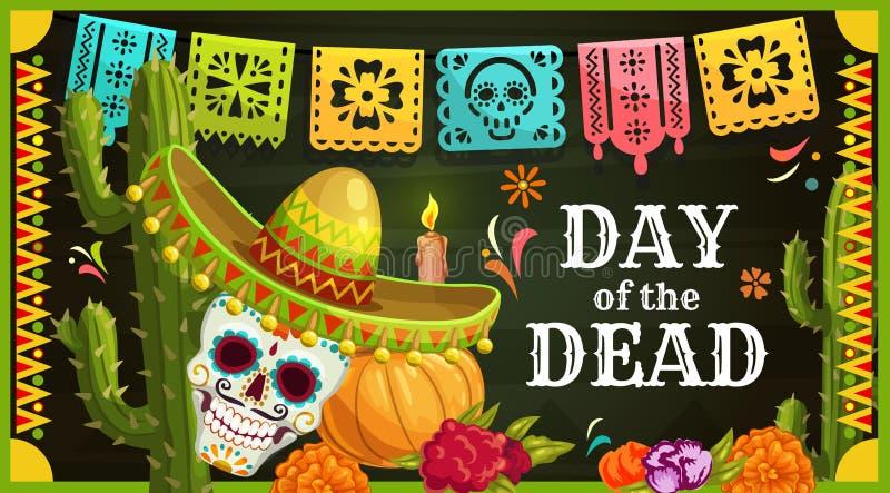 Crânio mexicano do açúcar com sombreiro Dia dos mortos ilustração do vetor