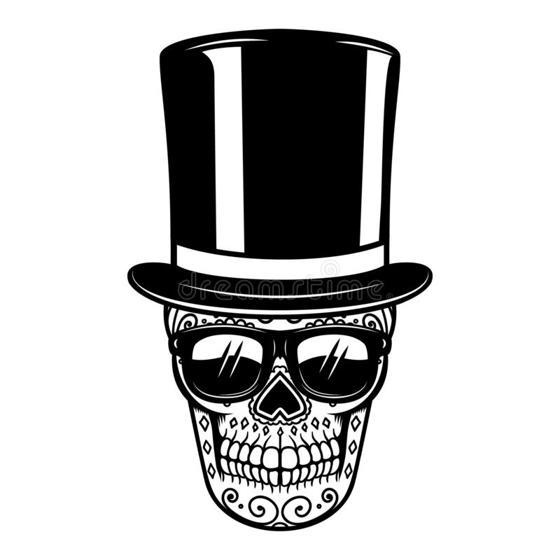 Crânio mexicano do açúcar no chapéu e nos óculos de sol do vintage Dia dos mortos Projete o elemento para o cartaz, cartão, bande ilustração do vetor
