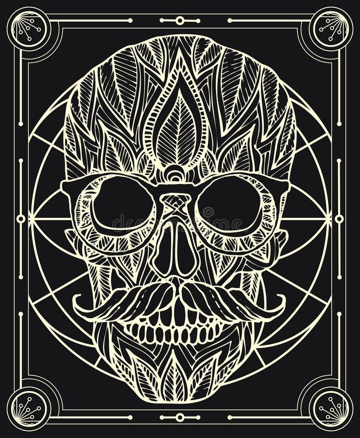 Crânio mexicano tirado mão com bigode ilustração do vetor