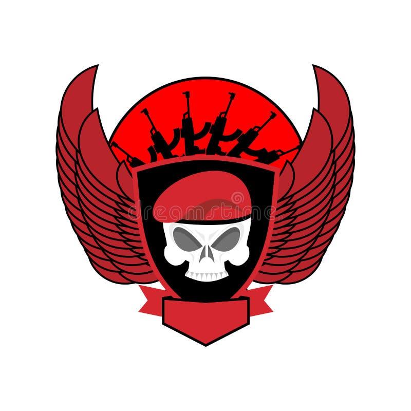 Crânio militar do emblema na boina Asas e armas Logotipo do exército S ilustração royalty free