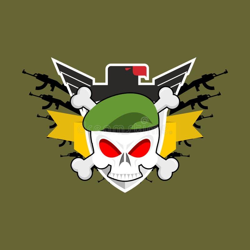 Crânio militar do emblema na boina Asas e armas Logotipo do exército S ilustração stock