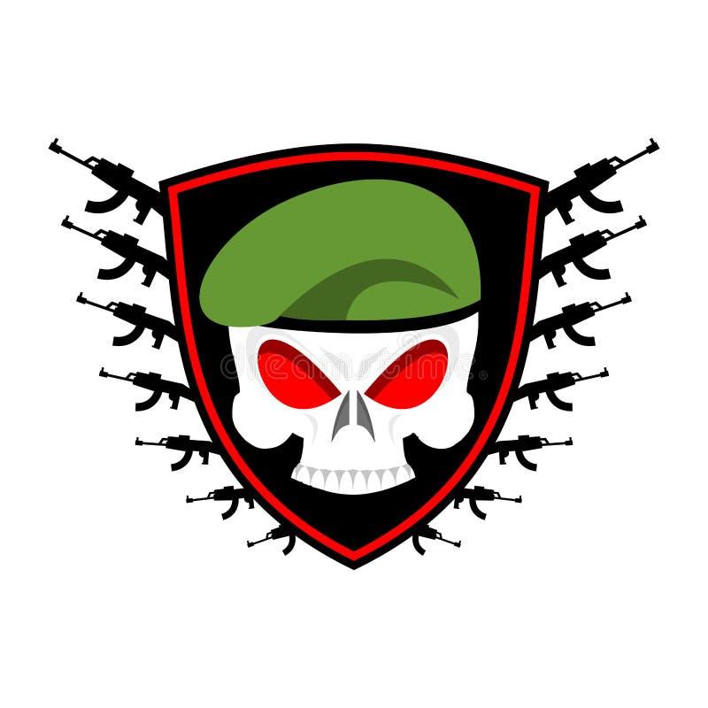 Crânio militar do emblema na boina Asas e armas Logotipo do exército S ilustração do vetor