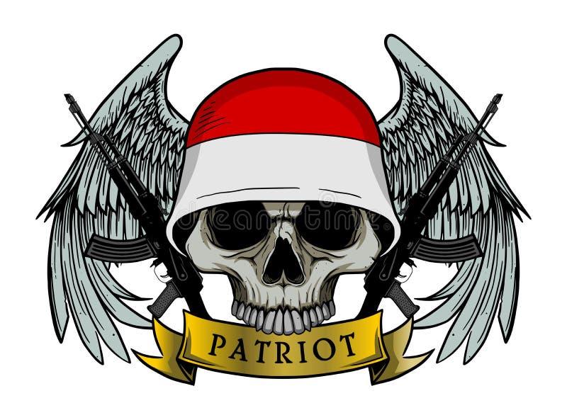 Crânio militar ou crânio do patriota com o capacete da bandeira de INDONÉSIA ilustração do vetor