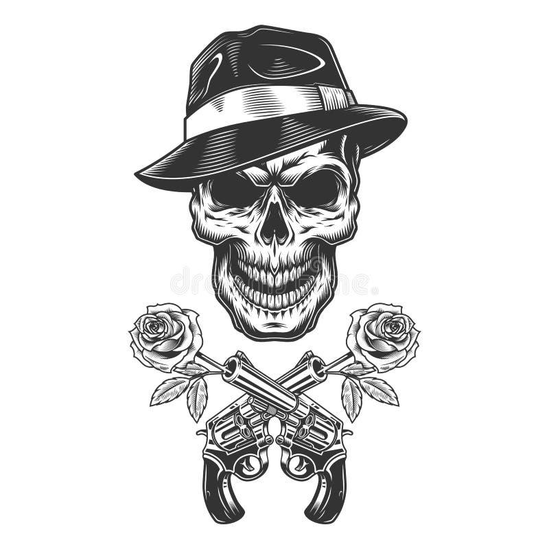Crânio monocromático do gângster do vintage ilustração stock