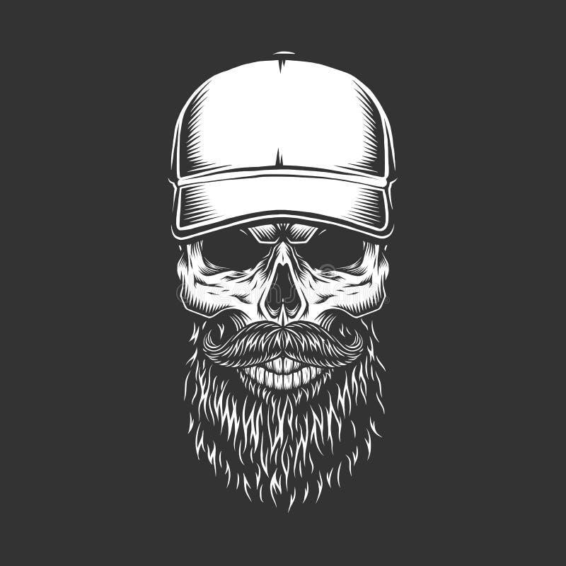 Crânio monocromático do vintage no boné de beisebol ilustração stock