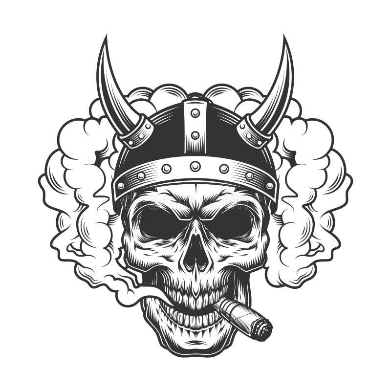 Crânio na nuvem de fumo ilustração stock