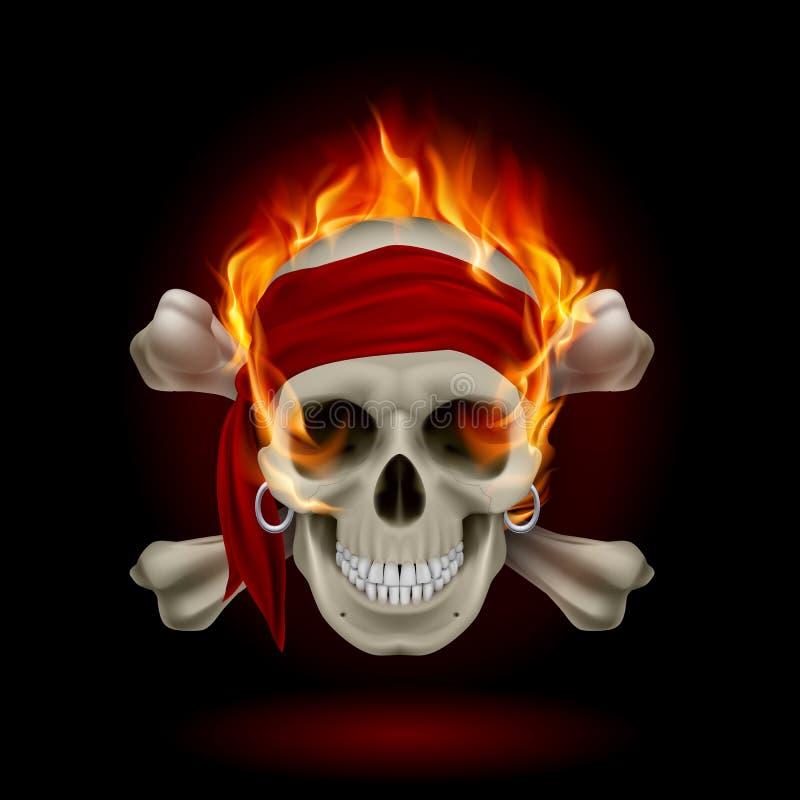 Crânio nas chamas ilustração stock