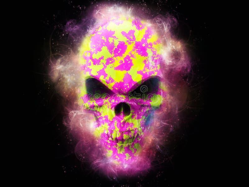 Crânio nebuloso do fractal do sibilo e do cal ilustração royalty free