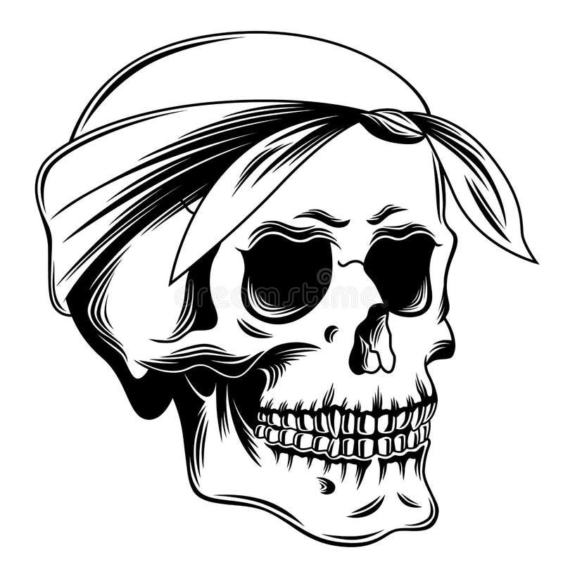 Crânio no bandana ilustração do vetor