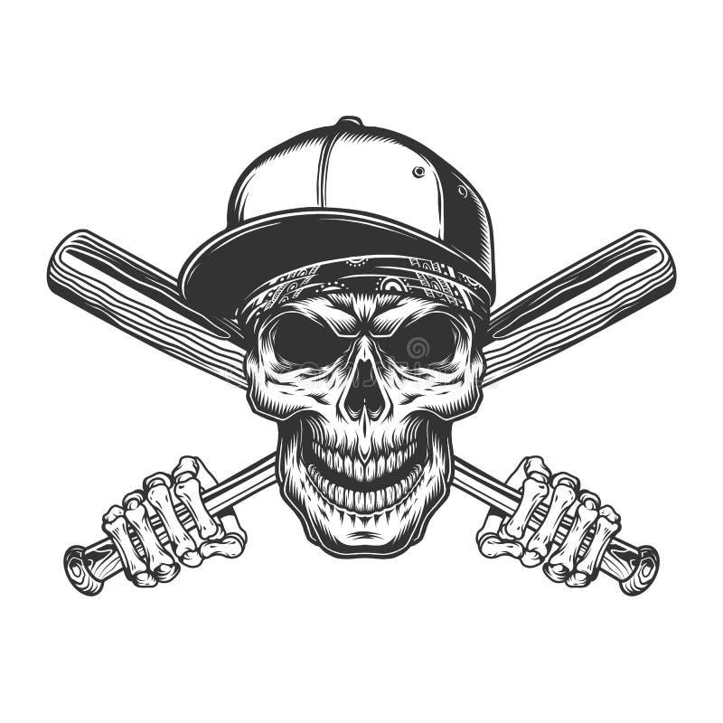 Crânio no boné de beisebol e no bandana ilustração royalty free