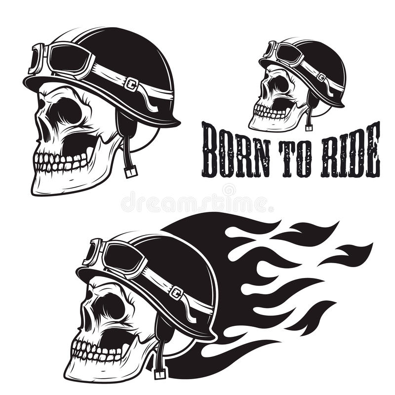 Crânio no capacete da motocicleta com fogo Carregado montar ilustração royalty free