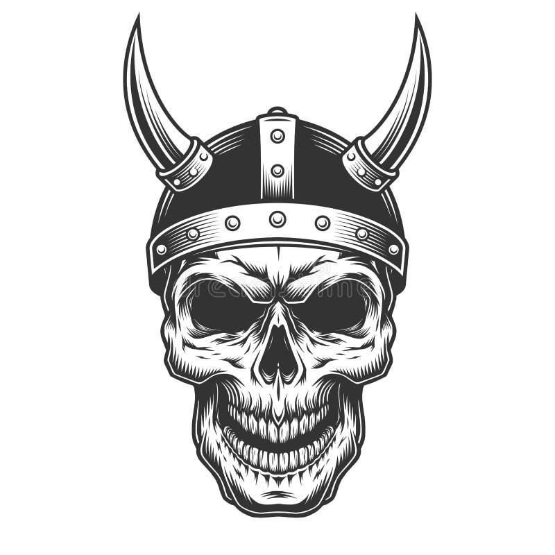 Crânio no capacete de viquingue ilustração royalty free