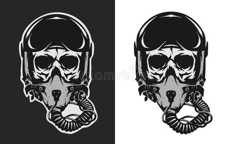 Crânio no capacete do piloto do combate ilustração royalty free