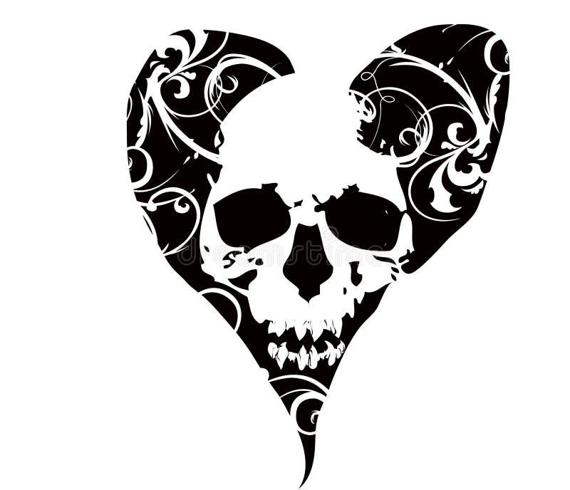 Crânio no coração ilustração do vetor